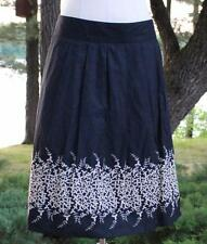 "New Banana Republic Skirt 8 (32"" Waist) Black Tan Floral Embroidered NWT $108"