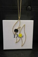 CHRISTIAN DIOR DESIGNER AUTH $475 NEW GOLD PETAL PENDANT NECKLACE WOW!!