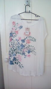 BNWT - Tu - white sleeveless tunic blouse, longer rear, floral print, size 20