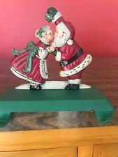 Midwest Importers Cast Iron Santa & Mrs Claus Mistletoe Double Stocking Holder