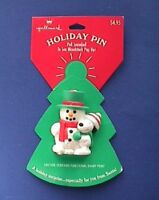 Hallmark PIN Christmas Vintage SNOOPY & WOODSTOCK Snowman POP UP Holiday NEW