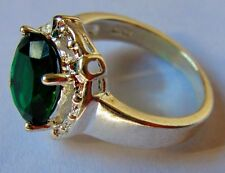 Like New .925 Sterling Silver Ring Sz 7 Green Emerald CZ Gem Stone Halo Fretwork