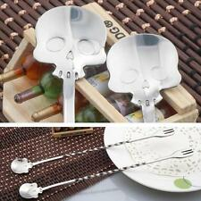 New Stainless Steel Skull Shape Mixing Spoon Cocktail Wine Mixing Stirrer Tool Y