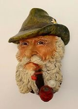 Vintage Bossons Congleton England Chalkware Head Wall Hanging 1972 Man Pipe