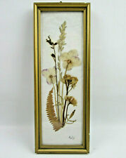 """vintage Framed Pressed Flowers and Leaves Wall Art 3 1/4"""" by 8 3/4"""""""