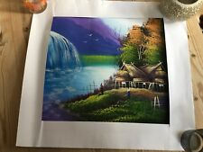 Canvas Painting Of Asian Village River Scene (Vietnamese?Malaysian?)