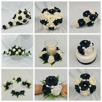Dark Navy Blue Wedding Flowers Bouquet Posy Bride Bridesmaid Flower girl Corsage