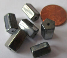 36 Vintage Czech Glass Gunmetal Gray Shiny 5-Sided Tube Beads 12mm x 8mm avg