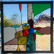 """Stained Glass Window Panel Suncatcher / """"Abstract with blue"""""""