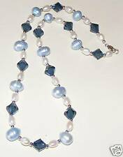 14K White Gold Blue FW Pearls Swarovski Necklace NEW