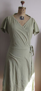 Earth Creations Cotton Wrap Dress Size Medium, Clay Dyed