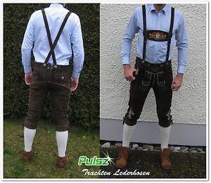 neu bayrische Trachtenlederhose Lederhose Kniebund Hosenträger Stickerei Pulsz