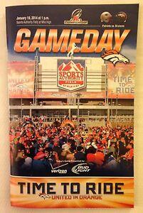2013-14 NFL AFC CHAMPIONSHIP PLAYOFFS PATRIOTS @ BRONCOS FOOTBALL PROGRAM