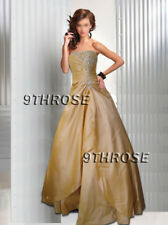 JUST DIVINE! STRAPLESS BEADED FORMAL/EVENING/PROM/BALL GOWN; CHAMPAGNE AU 8/US 6