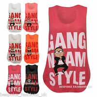 New Women's GANGNAM STYLE Print Sleeveless Ladies Vest Tank Top Tee Size SM & ML