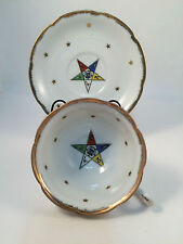 Order of The Eastern Star Tea Cup Lefton China Hand Painted Masonic Tea Cup VTG