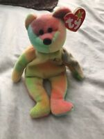 Peace Bear Beanie Baby With Errors *Rare With Case