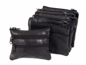 LADIES MENS SOFT LEATHER COIN CHANGE POUCH KEYS PURSE WALLET NEW UK