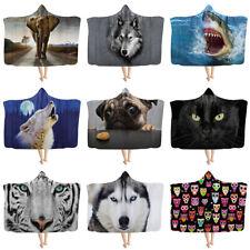 Fashion Animal Hooded Blanket for Adult Kids Winter Warm Fleece Soft Wearable