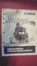 Yamaha Tuning Carburetion Clutching Gearing Factory Manual 2002 Snowmobile