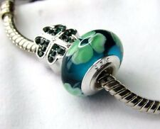 CLOVER SHAMROCK CHARMS IRISH GREEN Mom MURANO GLASS Pandora Bracelet Option