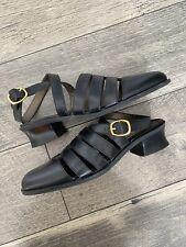 Vintage 90's Esprit Leather Shoes Strappy Mod Block Heel Retro Grunge Sz 6.5
