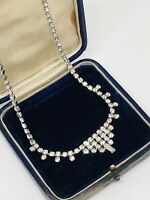 Vintage Necklace Silver Tone Clear Crystals Collar Length Pretty Vintage Kitsch
