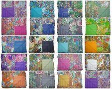 Paisley Print Cotton Kantha Quilt Bedspread Gudari Blanket Ralli Throw All Color