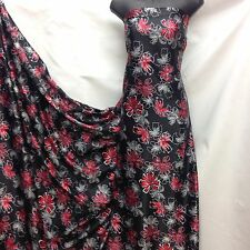 Designer Soft Satin Print Floral Black / Red /white Dress Craft Fabric