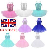 UK Girls Sequins Ballet Tutu Dress Jazz Modern Dancewear Gymnastics Kids Costume