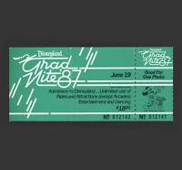 Disneyland Partially Used Grad Nite Admission ticket June 19, 1987