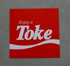 """Coke funny sticker """"Enjoy a Toke"""" Marijuana parody, Coca cola parody sticker."""