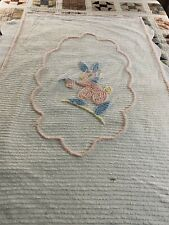 "Circa 1940s Vintage WHITE Cotton Chenille Bunny Coverlet 39 x 61"" Crib Baby #431"