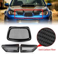 3x REAL Carbon Fiber Front Grill Grille For Subaru Impreza 9th WRX STI 2006-2007