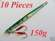 10 Pieces speed jigs 5.25oz /150g Green vertical butterfly fishing Lures