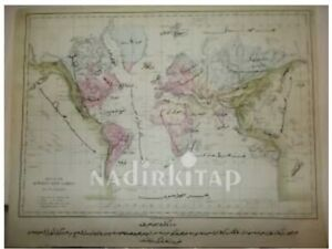 ANTIQUE WORLD MAP ARABIC Ottoman Map 1870s Rivers Lakes Adolph Von Steinwehr