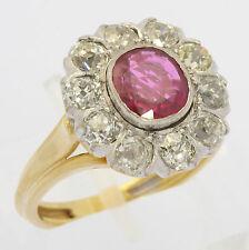 ♦♦ Rubin Ring in aus 18 kt 750 Gelb Weiß Gold mit Brillant Brillanten Diamant ♦♦