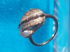 Fancy Vintage 14k Gold Ring with Pearl size 5.5 Unique!