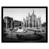 Piazza Del Duomo Cathedral Square Milan Italy 1895 Old Bw 12X16 Framed Art Print