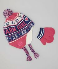 Farm Girl Pink And Blue Sherpa Hat And Mittens Set Size SM NWT