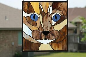 Purrrfect Stained Glass Window Panel,  20 3/4 x 18 3/4