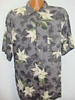 Mens Island Shores Gray Floral Washable Silk Hawaiian Shirt Size XL