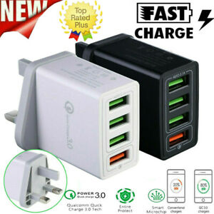 4 Port QC 3.0 Fast Qualcomm Quick Charge USB Hub Wall Charger Adapter UK Plug