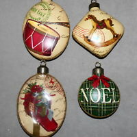 Christmas Ornament Glass CRYSTAL Lot of 4 RANA'S VARIETY STORE USA SELLER