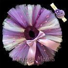 Girls Tutu Skirt & Headband - Newborn Baby to Size 2 Toddler - Purple & Pom Poms