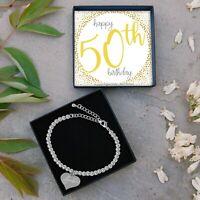 Silver Plated Beaded Bracelet Fiftieth Birthday Present Gift Jewellery 50th Idea