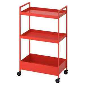 IKEA NISSAFORS Utility Cart Trolley Storage Red Orange, 804.657.45 - NEW IN BOX