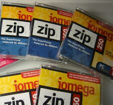 IOMEGA .. ZIP DISKS .. 250 MB .. LOT QUANTITY OF 5 .. STORAGE CASE NOT INCLUDED