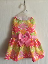 """Simply Wag Dog DRESS """"Lots of Spring Flowers Multi-Color & Pink Bow & Bling X-S"""