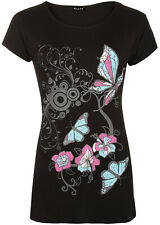 Womens Plus Size Flower & Butterfly Print Short Sleeve T-Shirt Ladies Baggy Top